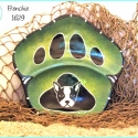 Frenchie Dog and Paw Painted Bowl TB1629