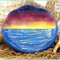 TPM 'Dusk' Ocean Sunset Painted Bowl TB1704
