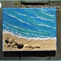 Beach art ocean painting w/real shells and sand, BC1709