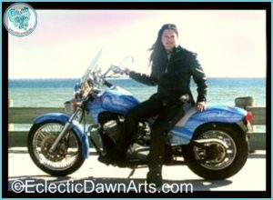 Eclectic Dawn on her motorcycle, 2005.