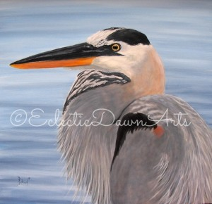 Great Blue Heron painting by Dawn Ventimiglia
