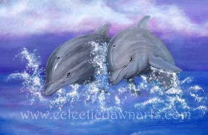 Eclectic Dawn Arts dolphins on canvas.