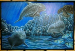 Underwater mural by Dawn Schmidt Ventimiglia of Eclectic Dawn Arts