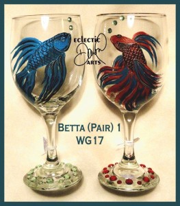 Hand-painted wine glasses.
