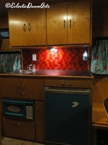 vintage camper galley kitchen lighting