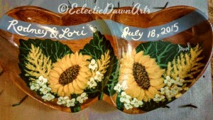 hand painted sunflower wedding gift