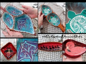 Manta ray, flamingo, and tribal turtle bowls by Dawn Ventimiglia of Eclectic Dawn Arts