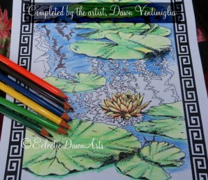 adult coloring book page, my lilies