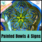 Colorful painted lotus bowl by Dawn Ventimiglia.