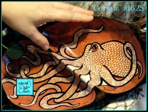 Handpainted octopus bowl by Dawn Ventimiglia of Eclectic Dawn Arts.