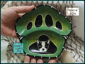 boston terrier pawprint bowl