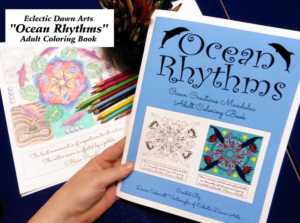 Adult Coloring Books and tiki cocktail recipe book by Dawn Ventimiglia of Eclectic Dawn Arts.