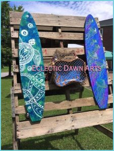 Eclectic Dawn Arts surfboard art