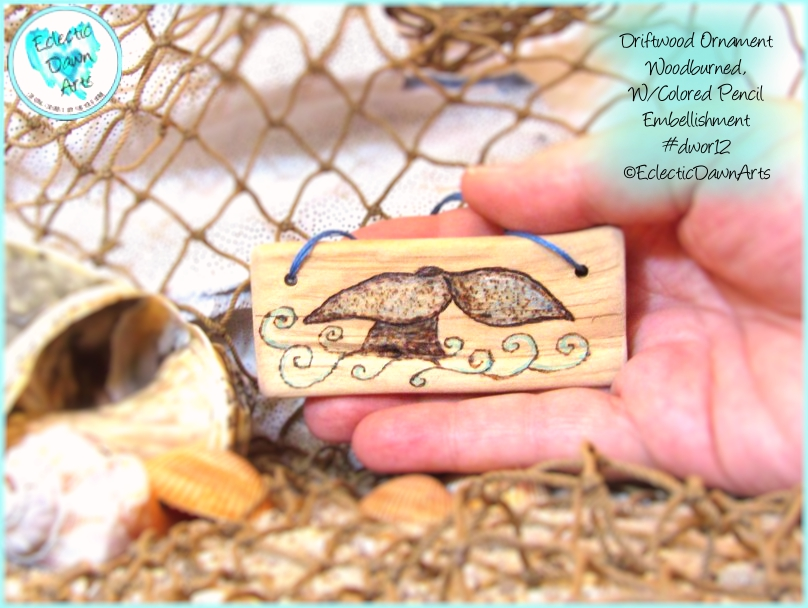 Whale Tail Driftwood Ornament DWOR12