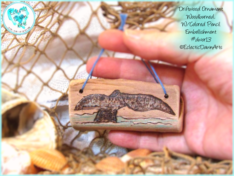 Whale Tail Ornament, Driftwood, DWOR13