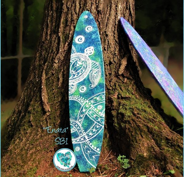 Turtle surfboard by Dawn Ventmiglia of Eclectic Dawn Arts..