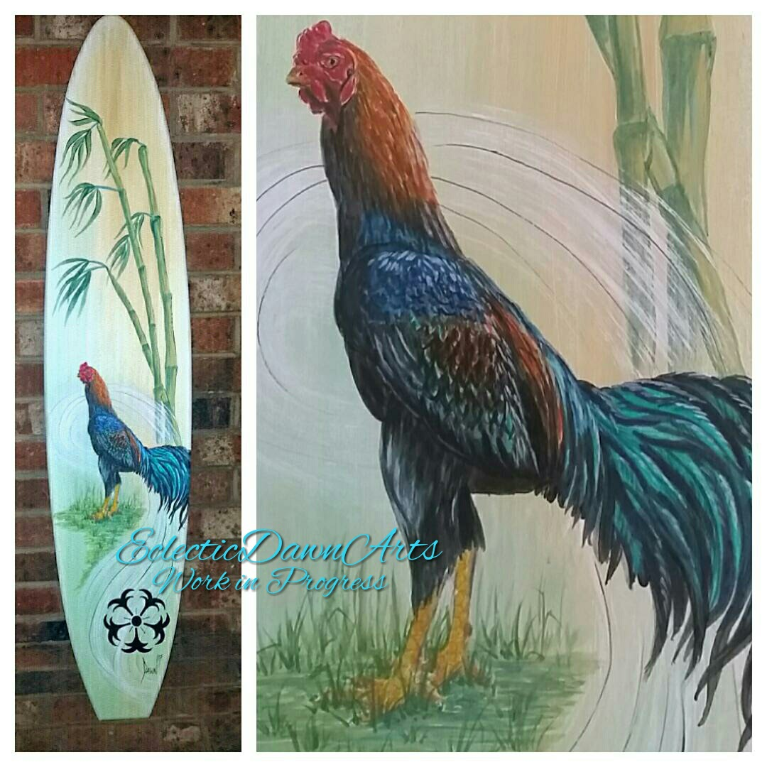 Shamo rooster surfboard by Dawn Ventimiglia of Eclectic Dawn Arts.