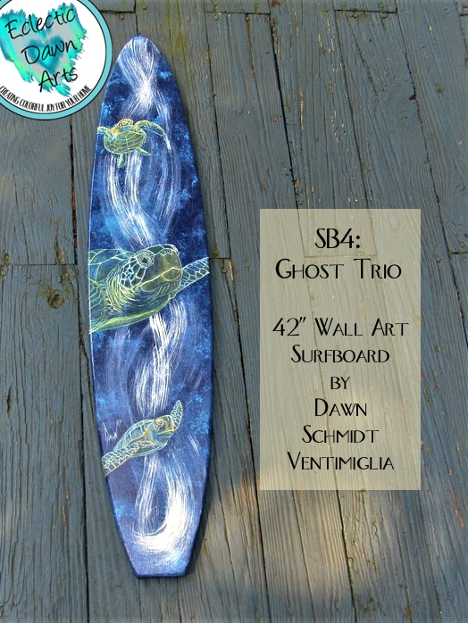 Sea Turtle Surfboard Wall Art   SB4 U0027Ghost Triou0027