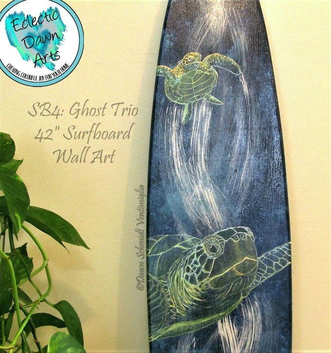 Ghostly sea turtles artwork by Dawn Ventimiglia.