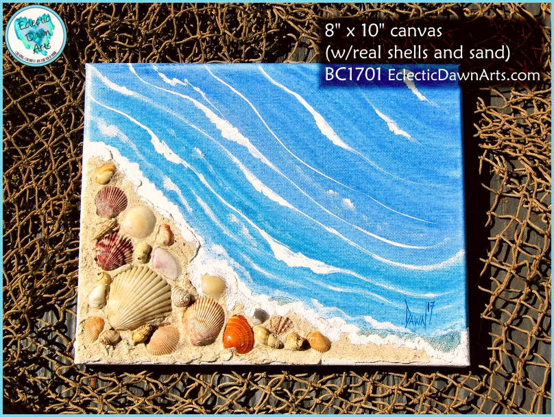 Wall art canvas and paper art eclectic dawn arts beach painting with real shells and sand bc1701 solutioingenieria Images