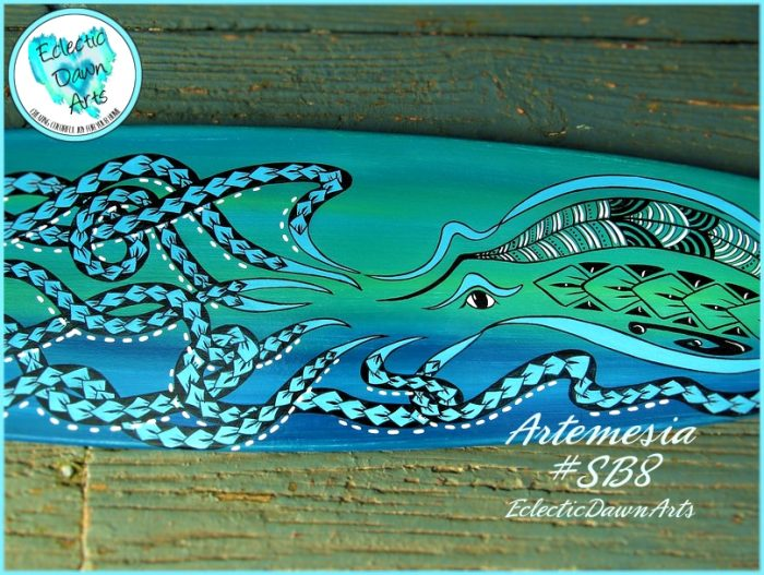 tribal style octopus on a wall art surfboard by dawn schmidt ventimiglia of kukui lagoon studios